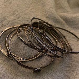Antiqued silver bangles